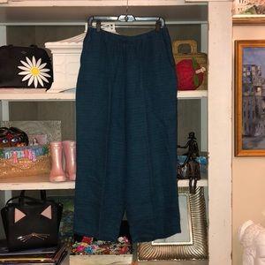 Flax Blue 100% Linen Wide Leg Crop Pants SZ M EUC
